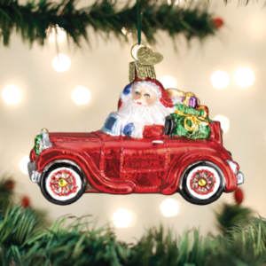 Santa in Antique Car Ornament